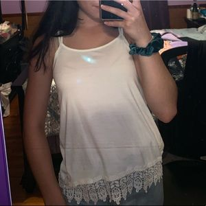 Old navy cream tank with floral trim